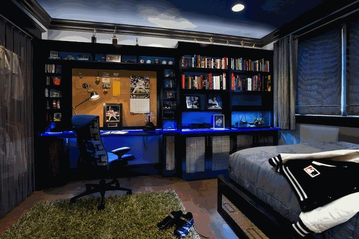 Idee deco chambre garcon bibliothèque moderne en bois peint noir