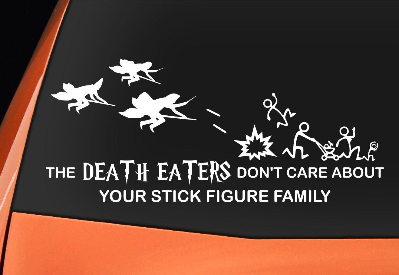 Harry Potter Inspired The Death Eaters Don T Care About Your Stick Figure Family Vinyl Decal Sticke Stick Figure Family Harry Potter Car Harry Potter Friends [ 911 x 1318 Pixel ]