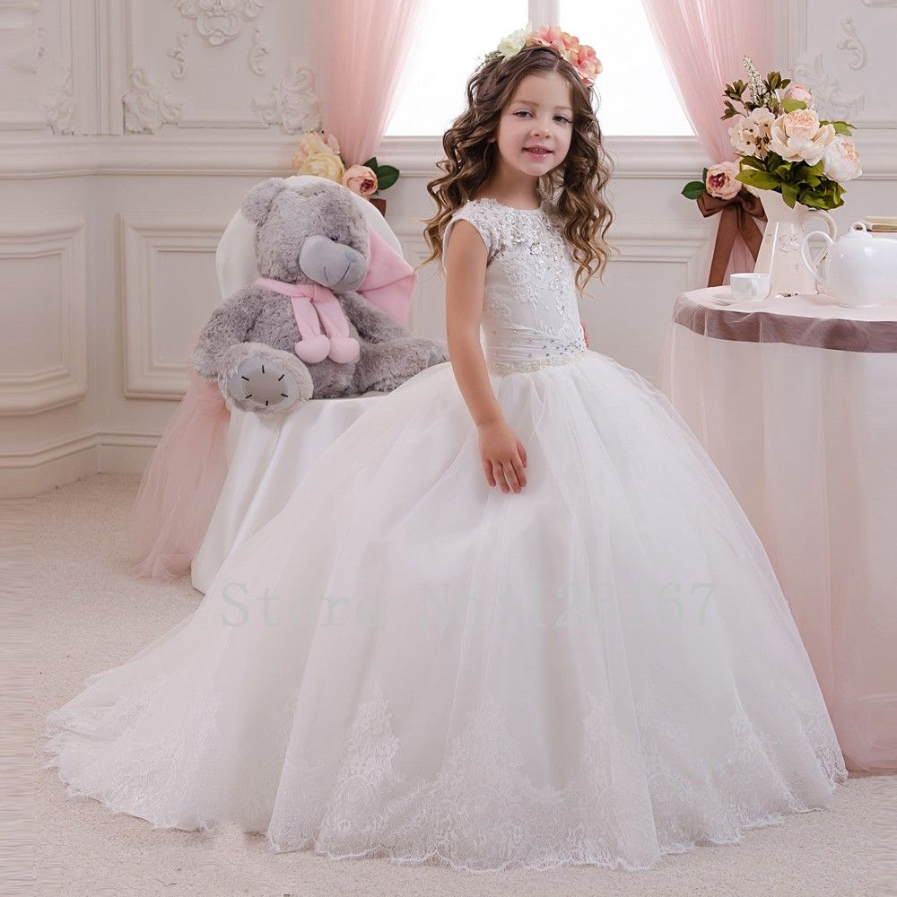 c493240bcb0 First communion dresses for girls Flower Girl s Dresses in weddings 2016 New  arrival Ball Gown Cap Sleeves Beaded Lace CGF068-in Flower Girl Dresses from  ...