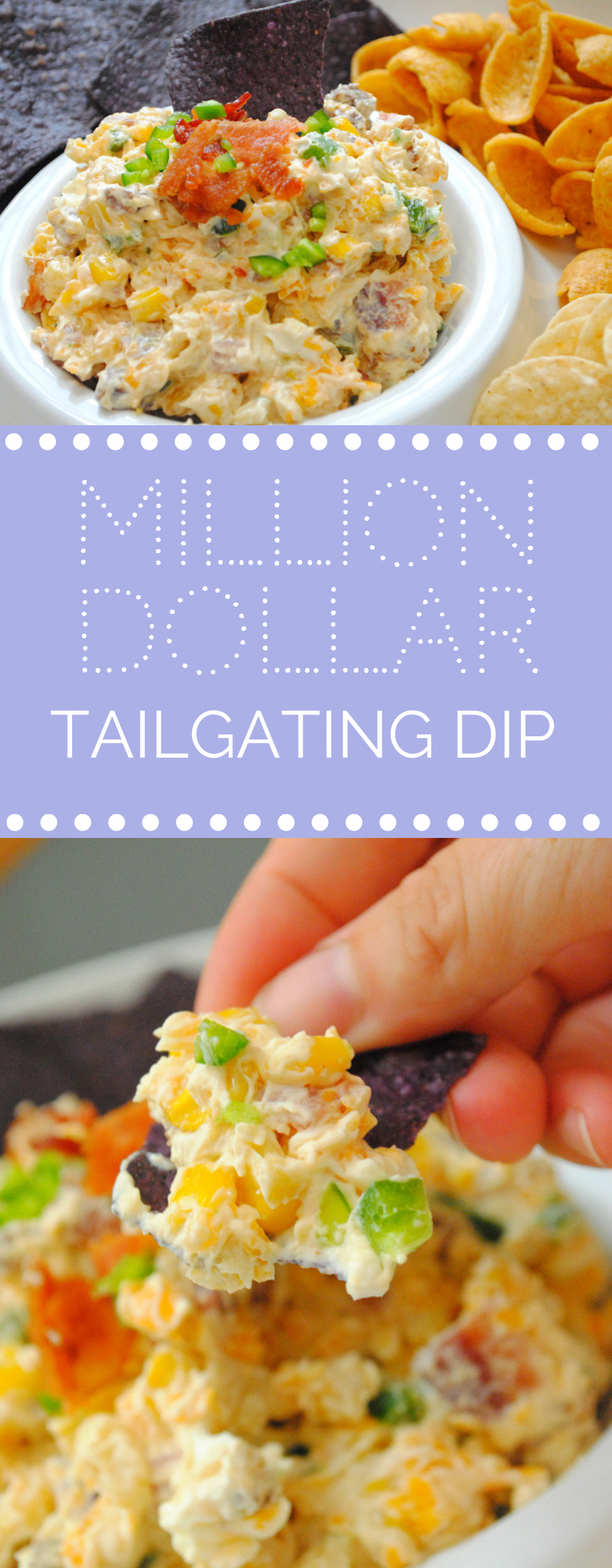 Million Dollar Tailgating Dip - The Anchored Kitchen #gameday #tailgating #dip #appetizer #sundayfootball #cheesedip #bacon #foodappetizers #milliondollardip