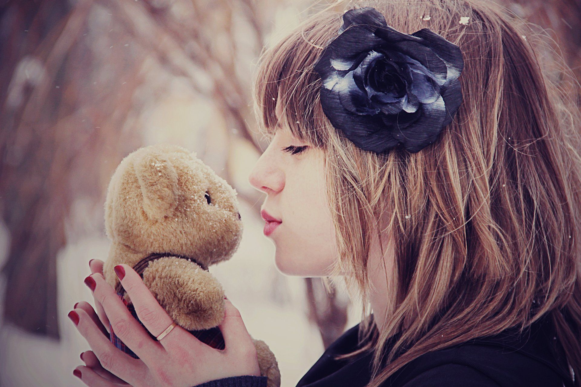 Toys wallpaper images  mood mood girl kiss bear toys flower snow winter HD wallpaper  Art