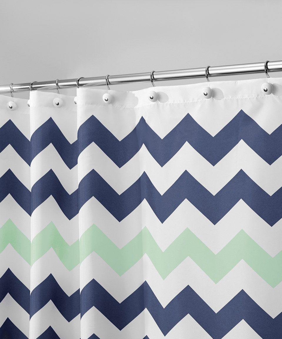Navy Mint Chevron Shower Curtain Chevron Shower Curtain