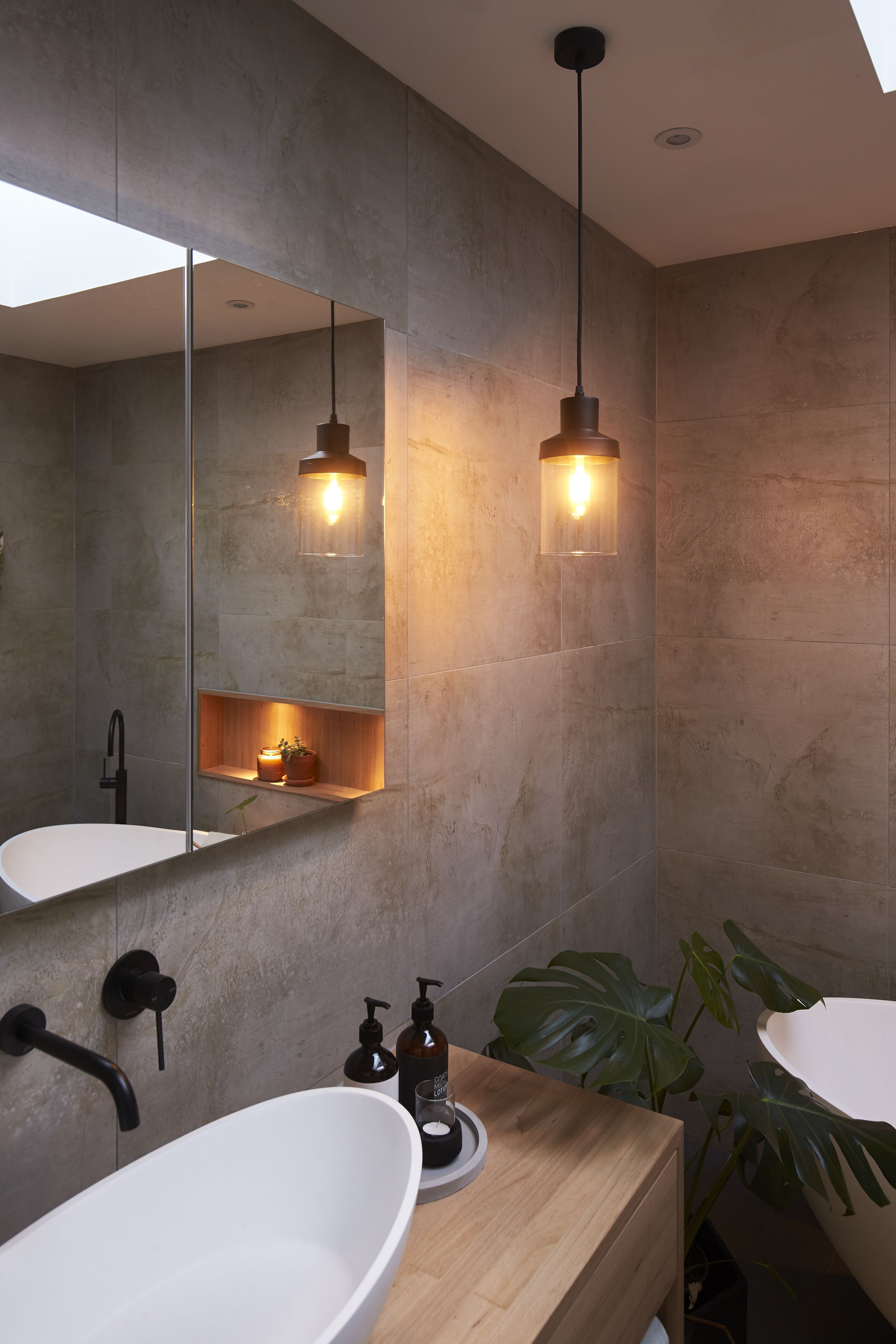Make Lighting A Feature In Your Bathroom With A Combination Of Lighting Bunnings Bathroom Pendant Lighting Best Bathroom Lighting Bathroom Lighting
