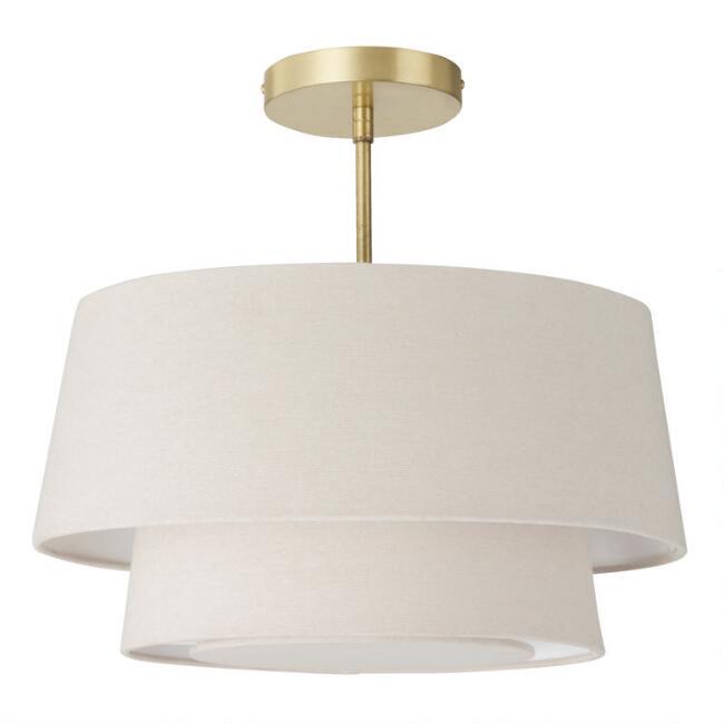 Gray Linen 2 Tier Semi Flush Mount Ceiling Light V1 Flush Mount Ceiling Lights Bedroom Ceiling Light Semi Flush Ceiling Lights