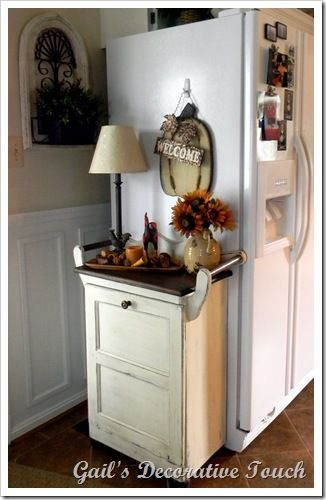 DIY Decorative Table With Hidden Garbage Can Inside! Can Put A Butcher  Block On Top For Cutting Board!This Site Has A Great Tutorial On Bead Board  Cabinet ...