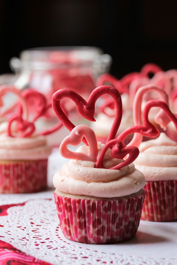 Buttermilk Cherry Cupcakes with Cherry Cream Frosting #ValentinesDay