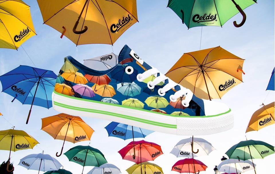 Colorful umbrellas  floating in the sky! Take yours at: http://celdes.com/all/314-madrid-colorful-umbrellas.html #exploreceldes #exploretheworld #spain #umbrellas