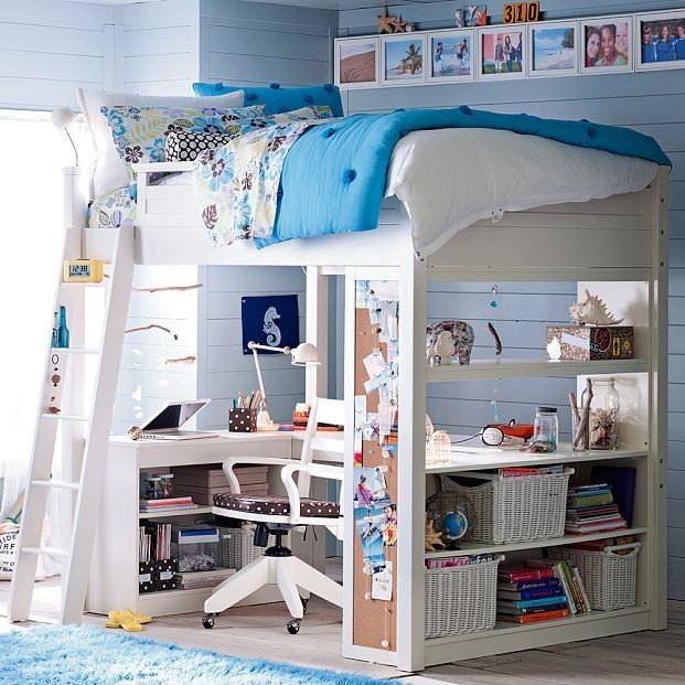 Modern Plastic Miniature Dollhouse Bedroom Set Loft Bunk Bed with Stairs Slides