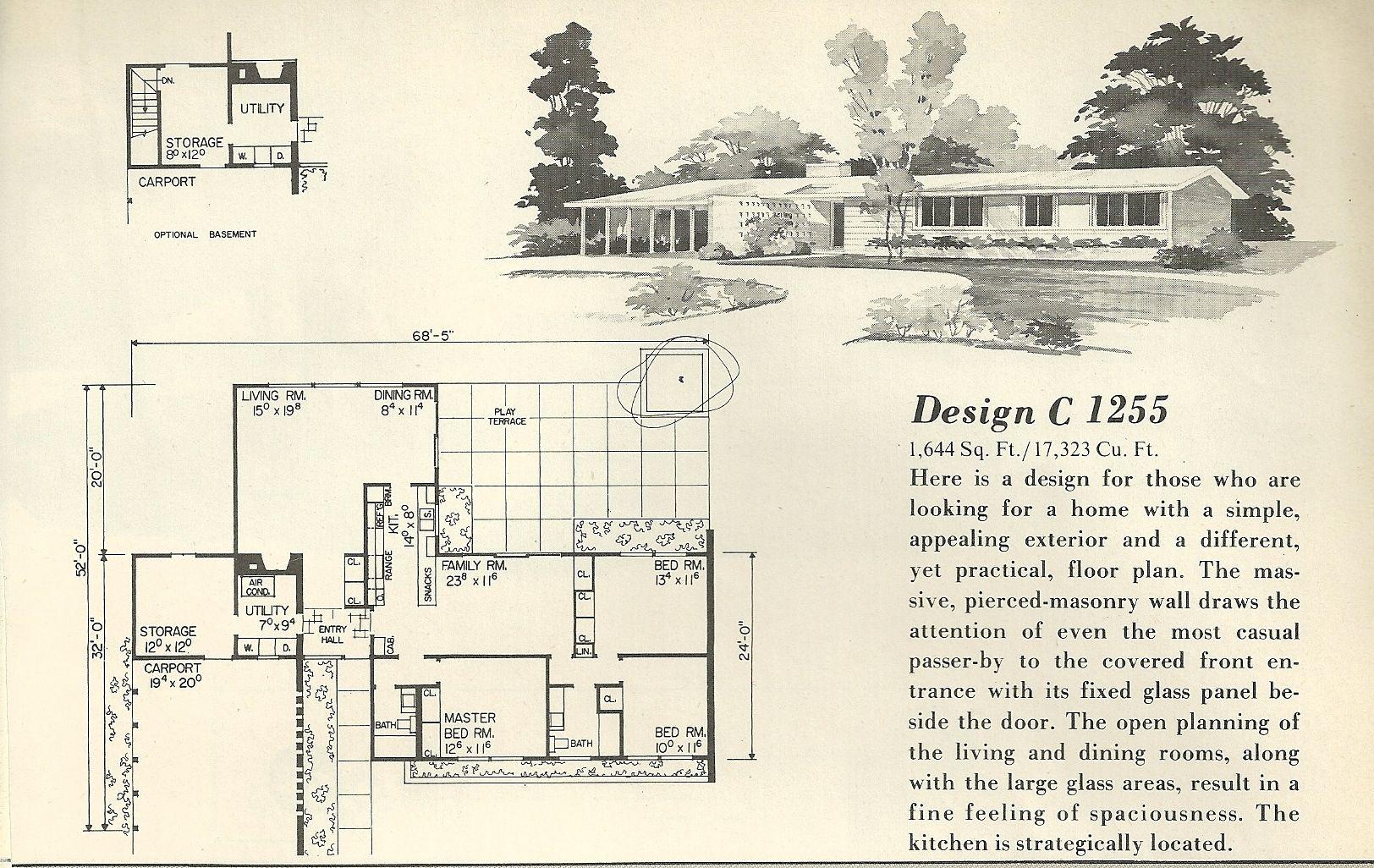 Mid Century Modern House Plans Mid Century Atrium Courtyard House