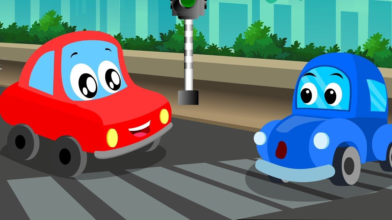 Little Red Car And His Cartoon Car Friends Love Driving Racing And