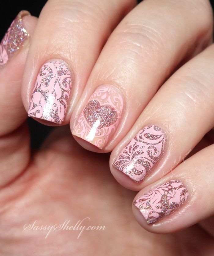 Valentine's Nails pink lace and glitter hearts negative space accent nail   Sassy Shelly