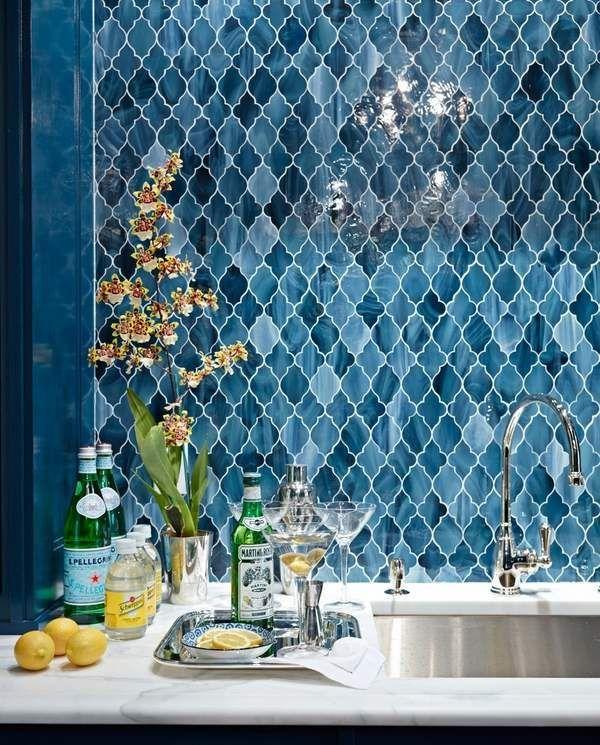 Lovely moroccan tile backsplash ideas blue arabesque tiles home bar decor ideas