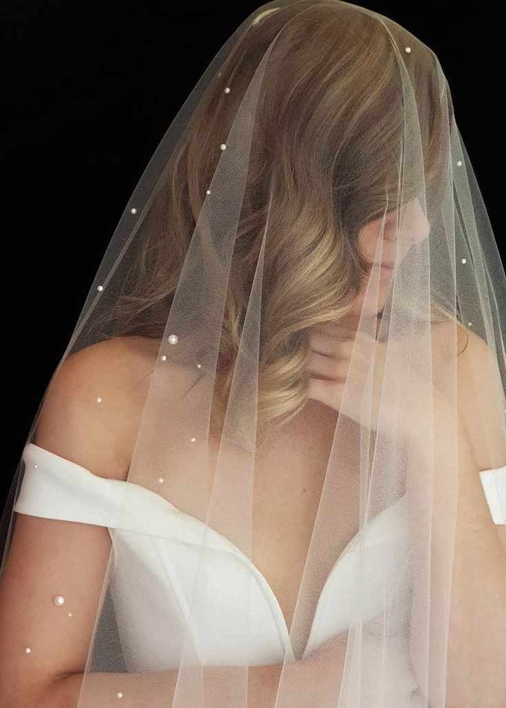 Photo of NADIA | Long pearl bridal veil – TANIA MARAS | bespoke wedding headpieces + wedding veils
