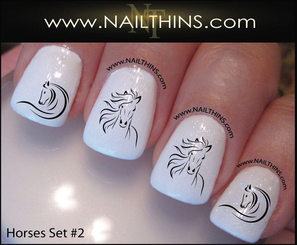 Horse Nail Decal SET No. 2 Horse Head nail designs | Horse nails ...
