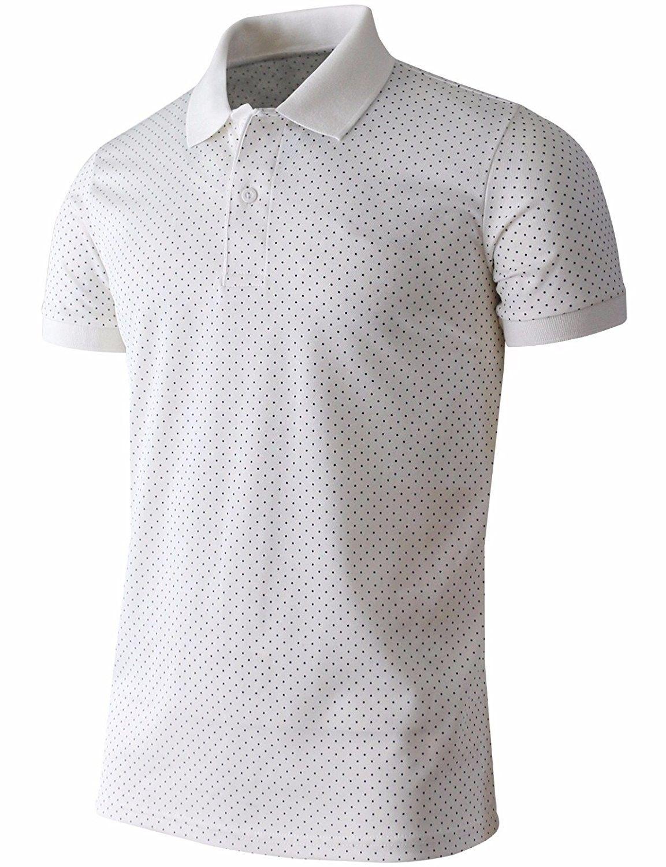 47ab831c Men's Polo Shirt Casual Short Sleeves Polka Dots Pattern Golf Polo Shirt -  White - CZ17Z3N2ST2,Men's Clothing, Shirts, Polos #men #fashion #style  #outfits ...