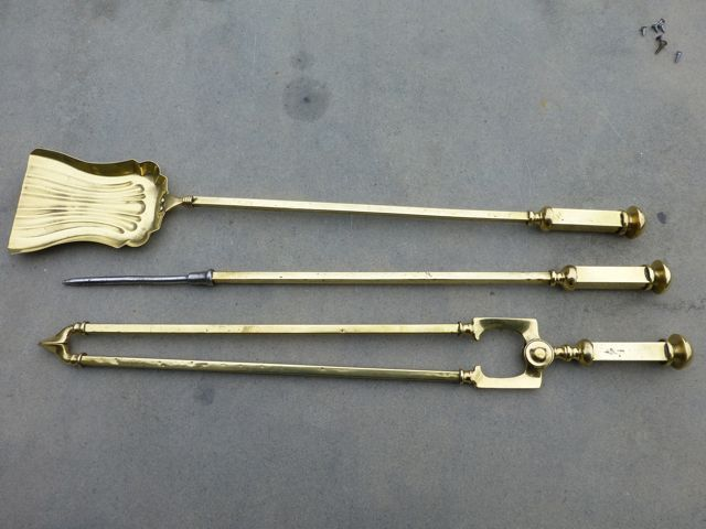 Art deco fireplace tong, fire poker and fire shovel (brass) for ...