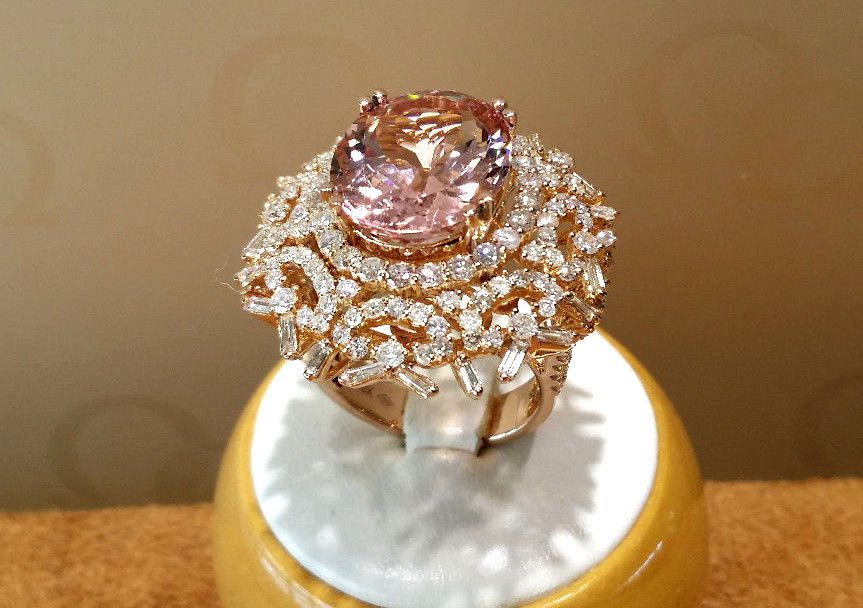 9.26CT. large Morganite with 3.67cts. Diamond Cocktail Ring 18k.Rose gold. #VA #Cocktail