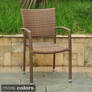 International Caravan Barcelona Resin Wicker/Aluminum Outdoor Stackable  Armchair   Overstock Shopping   Big Discounts On International Caravan  Dining Chairs