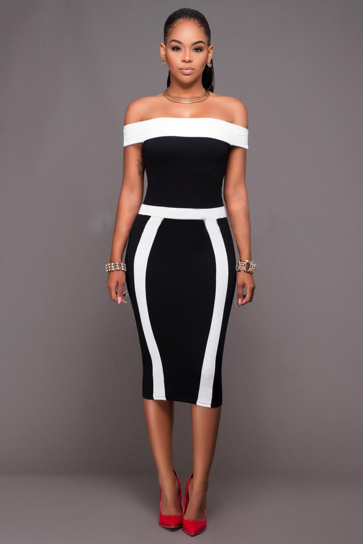 Black White Patchwork Off Bandeau Boat Neck Shoulder Midi Dress Dresses Bodycon Dress Midi Dress Bodycon [ 1500 x 1001 Pixel ]
