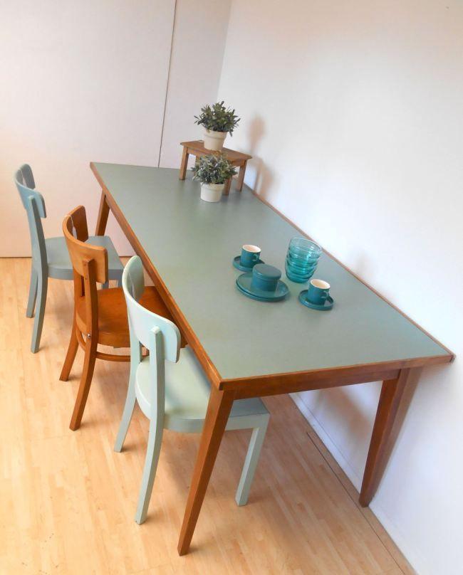 objekt werktisch k chentisch gesch alter gestell aus den 50er 60er jahre linoleum auf. Black Bedroom Furniture Sets. Home Design Ideas