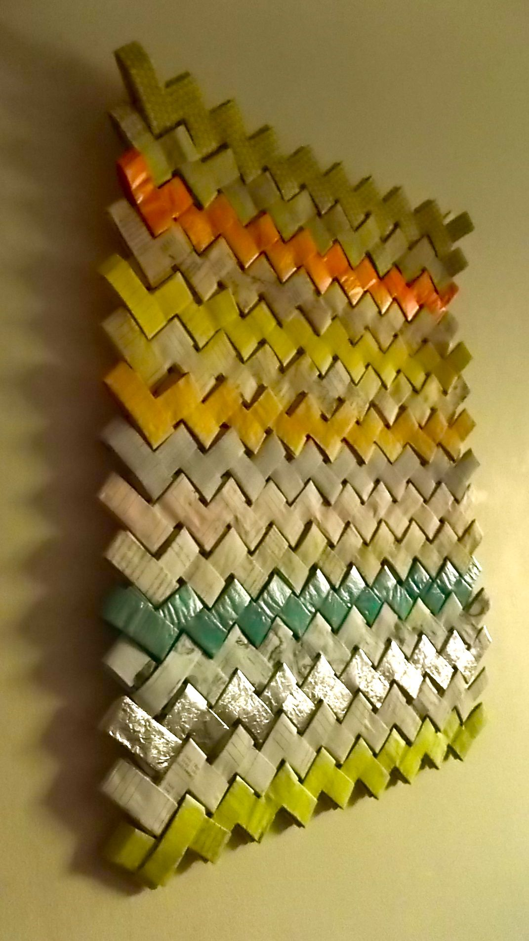 Wrapping Paper Wall Hanging (= rows of extra large gum wrapper ...