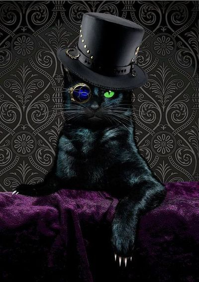 """""""Steampunk Cat"""" by BlueCatMum at Etsy  #etsy #blackcat #caturday #tophat #steampunk"""
