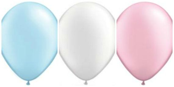 6 Baby Shower 16 Balloons pink blue white 16 inch by PartySurprise
