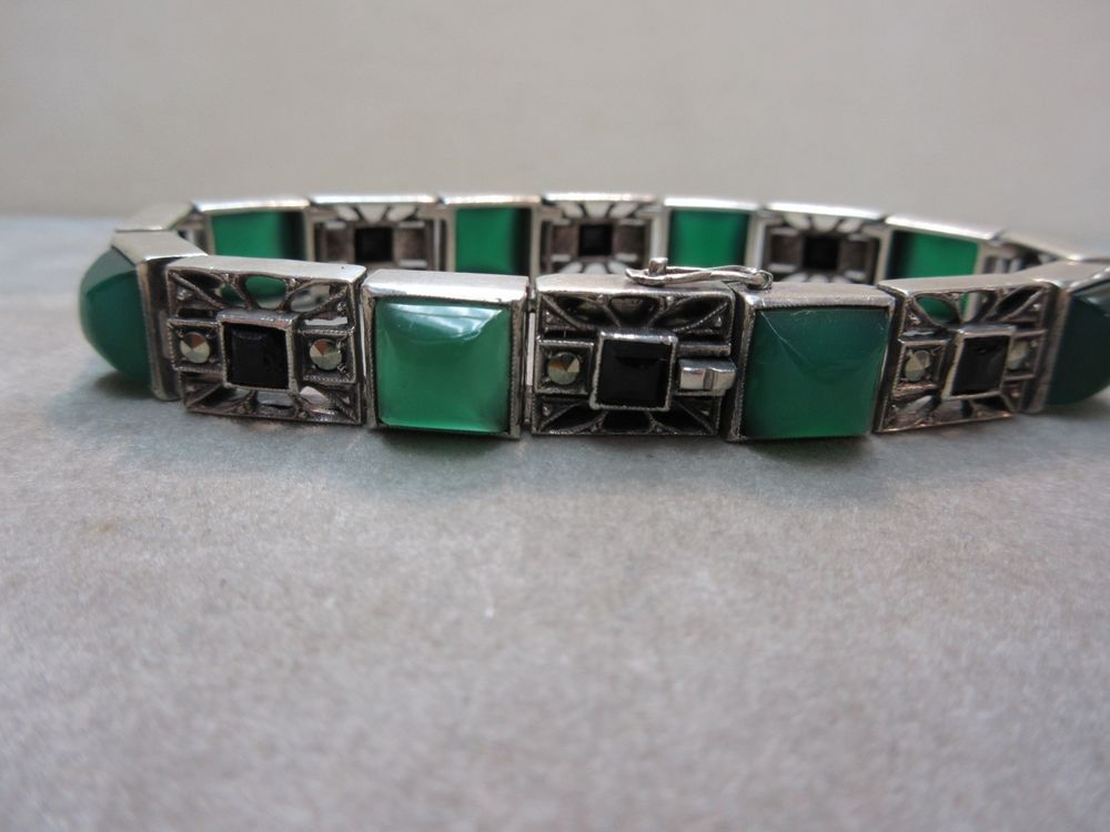 EXQUISITE ART DECO GERMANY STERLING SILVER CHRYSOPRASE, ONYX, MARCASITE BRACELET #GERMANY