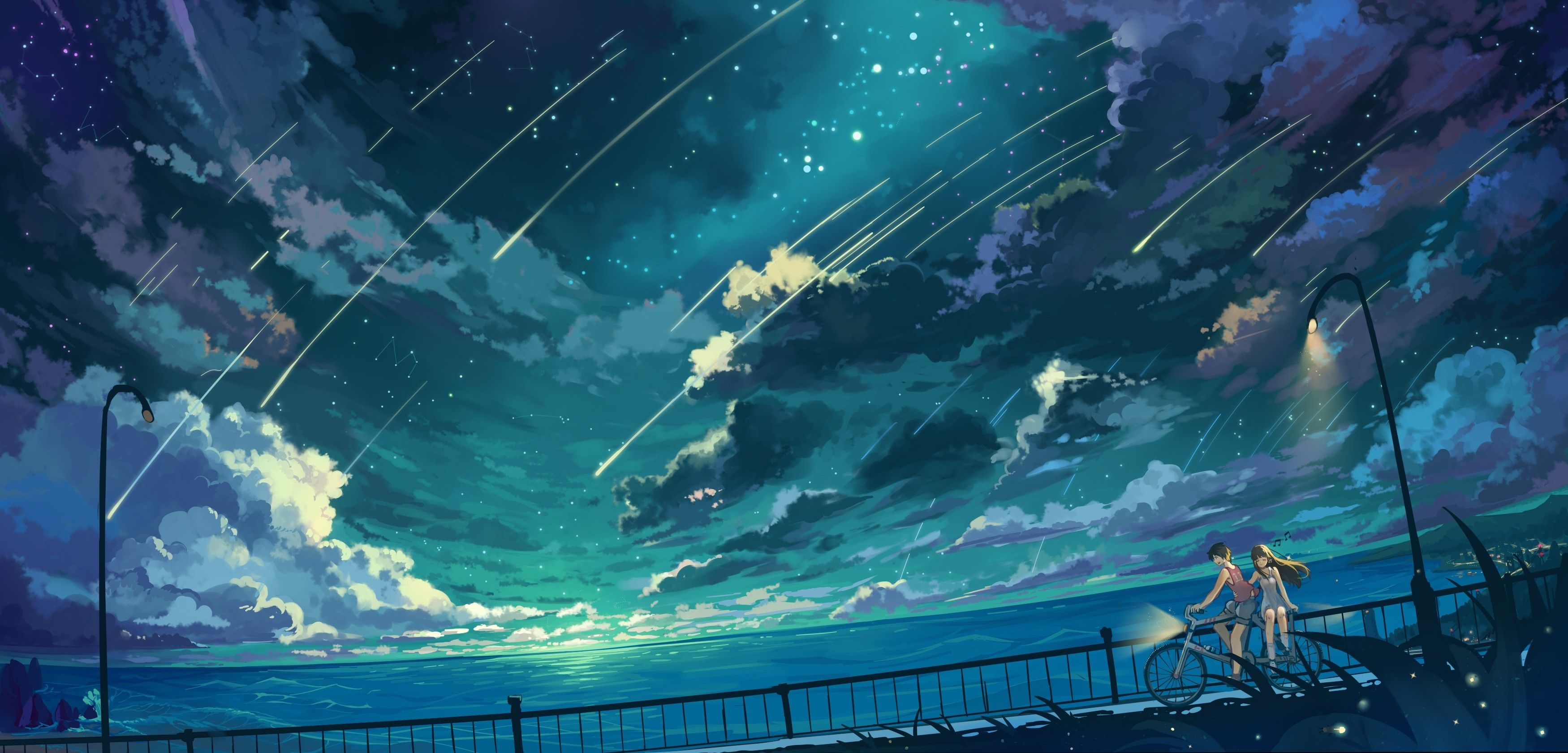 Res 3500x1681 Hd Wallpaper Background Image Id 596630 Anime Original Anime Scenery Scenery Wallpaper Anime Background