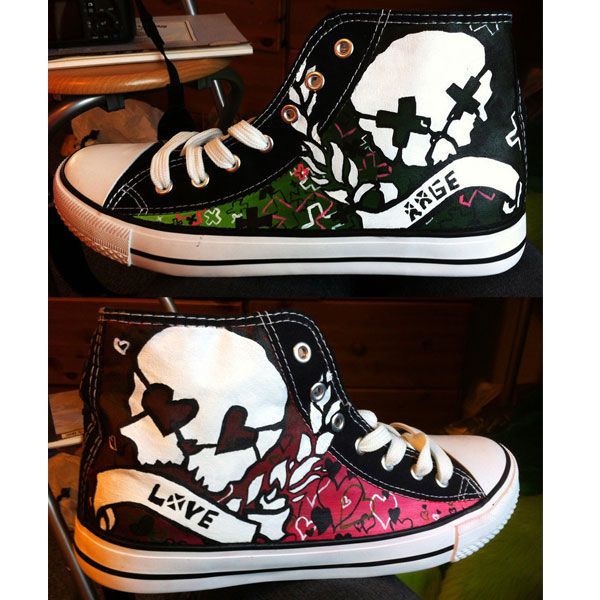 Hand Painted Green Day Rage and Love canvas shoes  fcd10a914