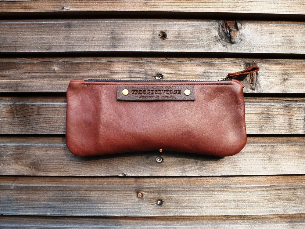 Leather pencil pouch  pouch/satchel small bag by treesizeverse, $45.00