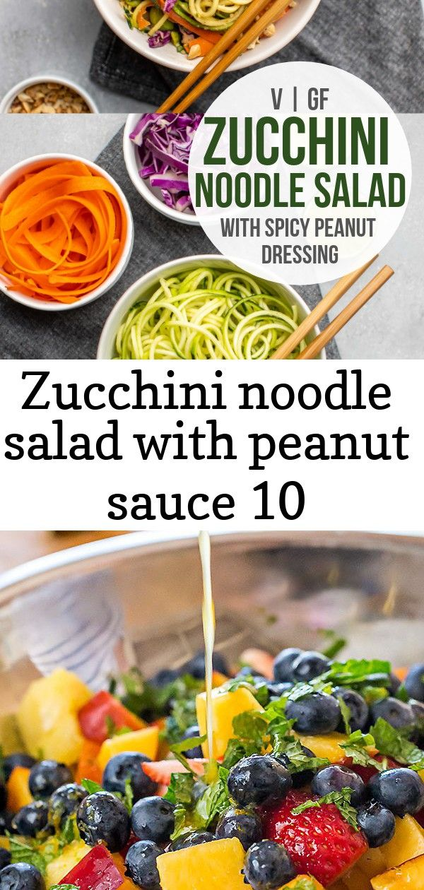 Zucchini noodle salad with peanut sauce 10 Zucchini noodles combine with edamame crunchy veggies and a spicy peanut sauce to make this fresh filling and proteinpacked sal...