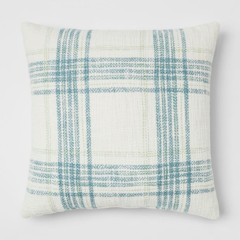 Plaid Square Throw Pillow Cream Blue - Threshold e81cd96f5fd9
