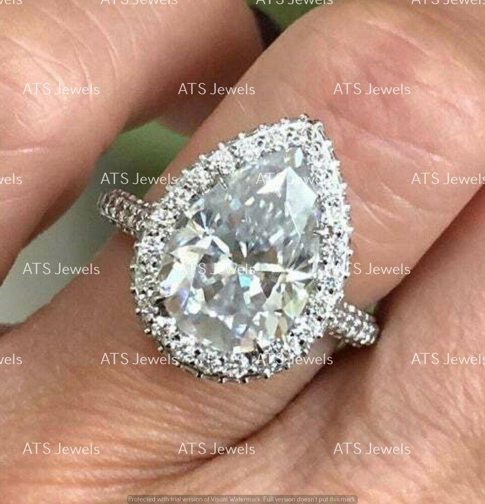 3CT Cushion Cut Diamond Solitaire Wedding Engagement Ring White Gold Finish