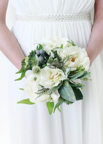 "Rose, Hydrangea & Lamb's Ear Silk Bouquet in White Green<br>10"" Diameter x 11"" Tall"