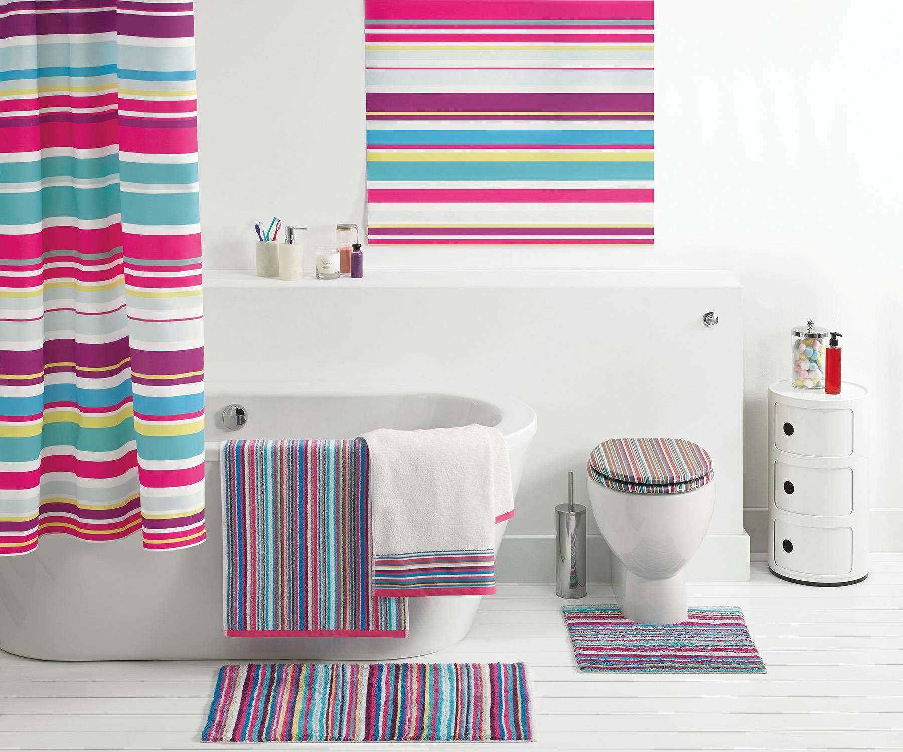 Buy Stripe Border Towel From The Next UK Online Shop Home Life - Bright bath mat for bathroom decorating ideas