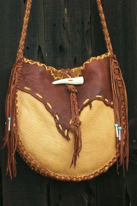 Fringed leather handbag ,  Possibles bag ,  Large leather tote