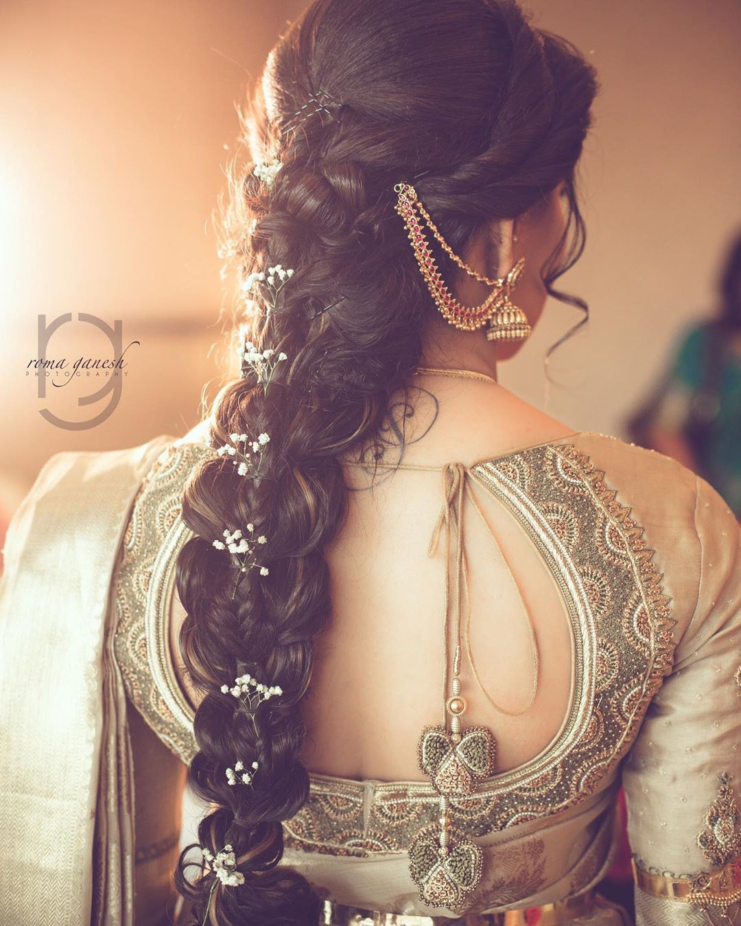 Indian Braids Hairstyle: Subtle Hints Of Baby's Breath On This Gorgeous Braid