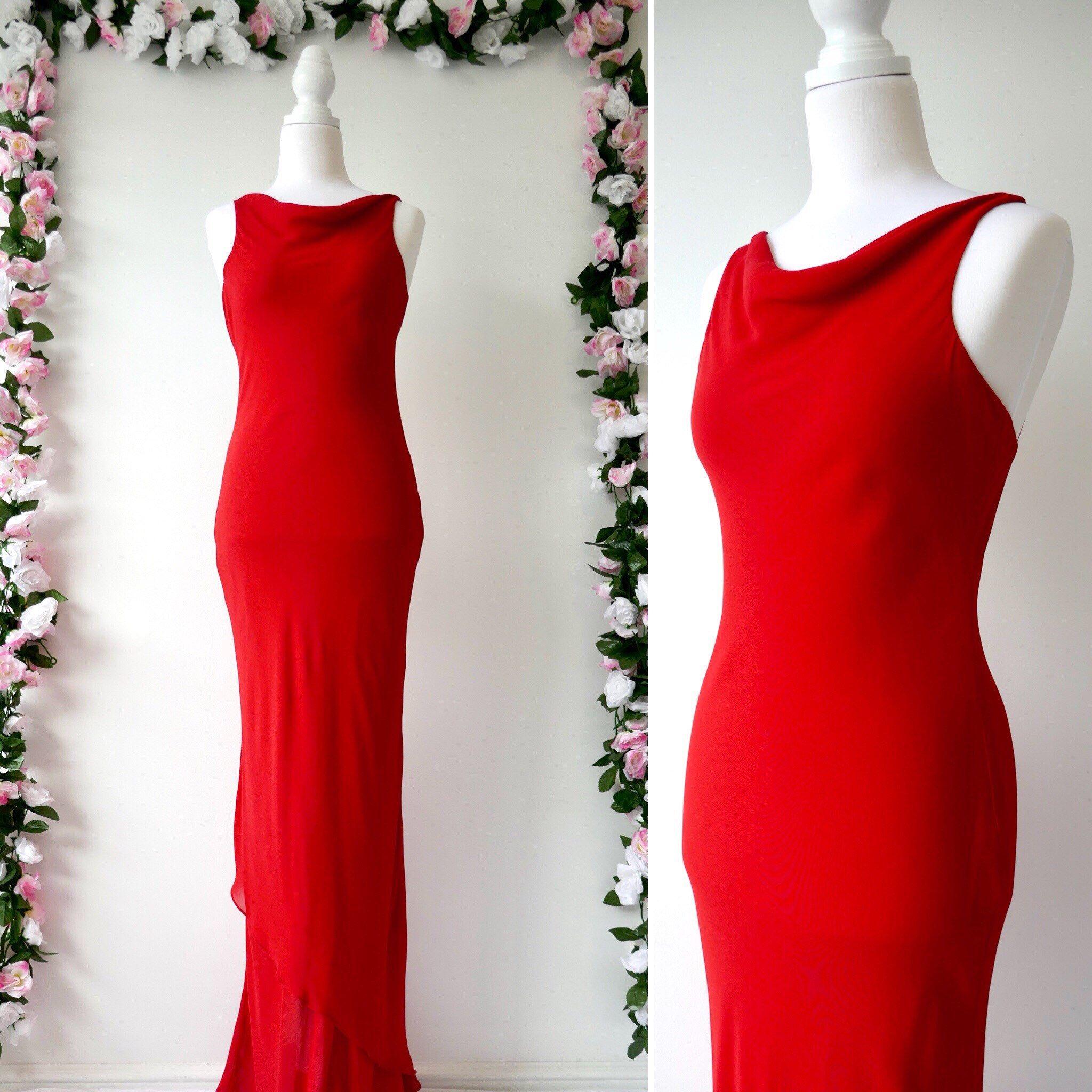 Vintage 90 S Evening Dress 90s Prom Dress Cocktail Etsy Trendy Dresses Formal Long Red Dress Long Cocktail Dress [ 2048 x 2048 Pixel ]