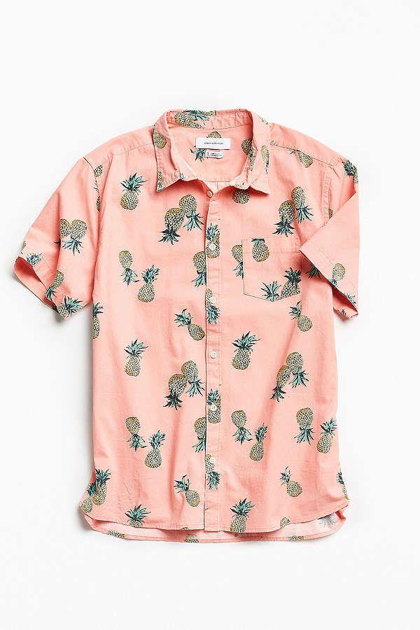 f7b0b51262f1 UO Pineapple Toss Short Sleeve Button-Down Shirt | Festival | Cotton ...