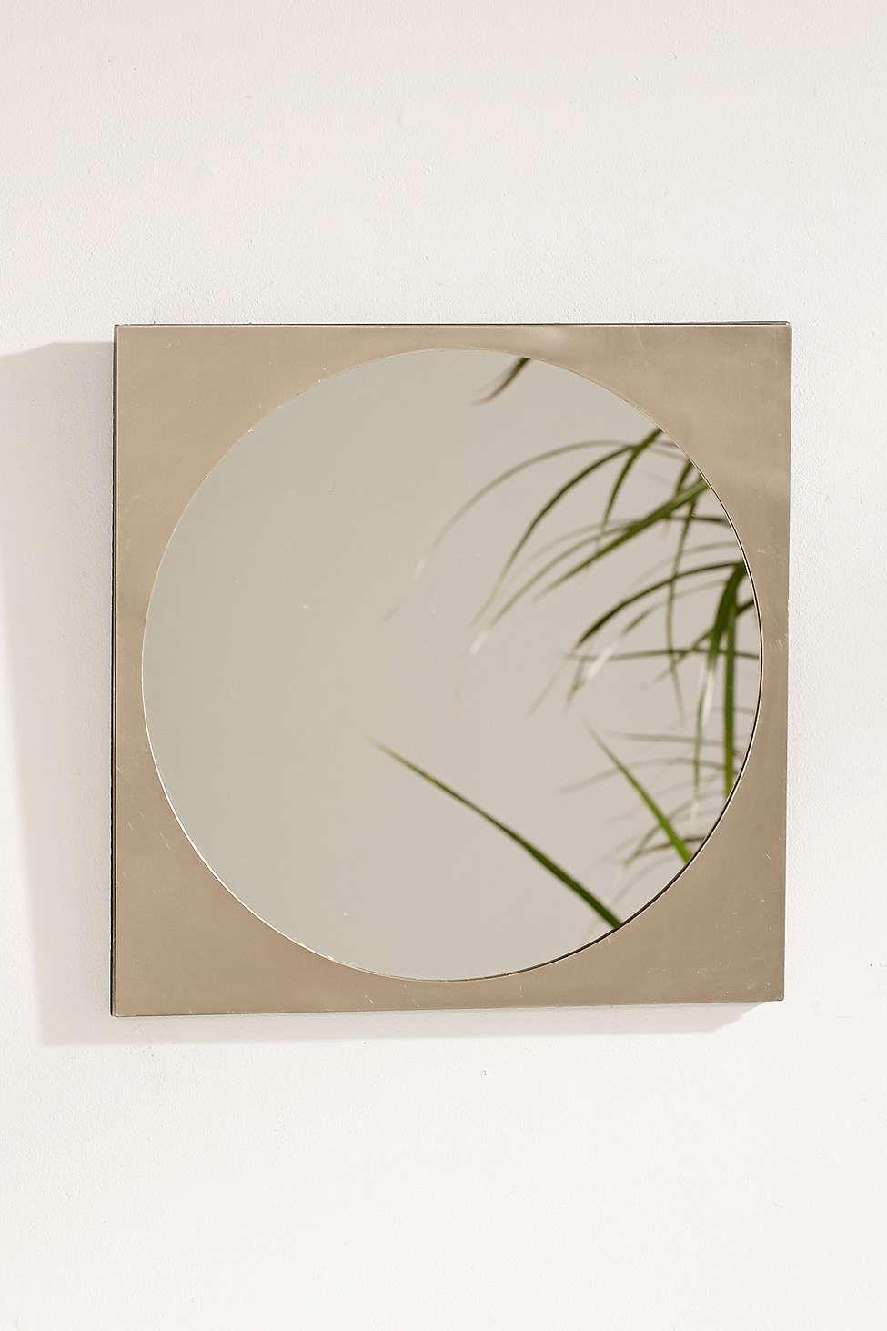 Kreisrunder Spiegel mit Oberlage aus Metall
