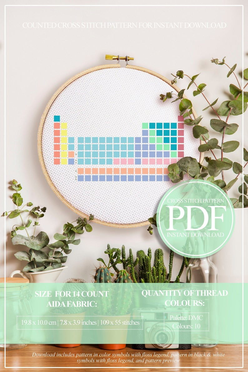 Periodic Table Cross Stitch Pattern Science Cross Stitch