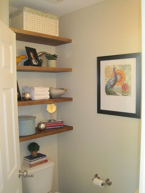 Storage In Small Half Bathroom Floating Shelves Shelves Small