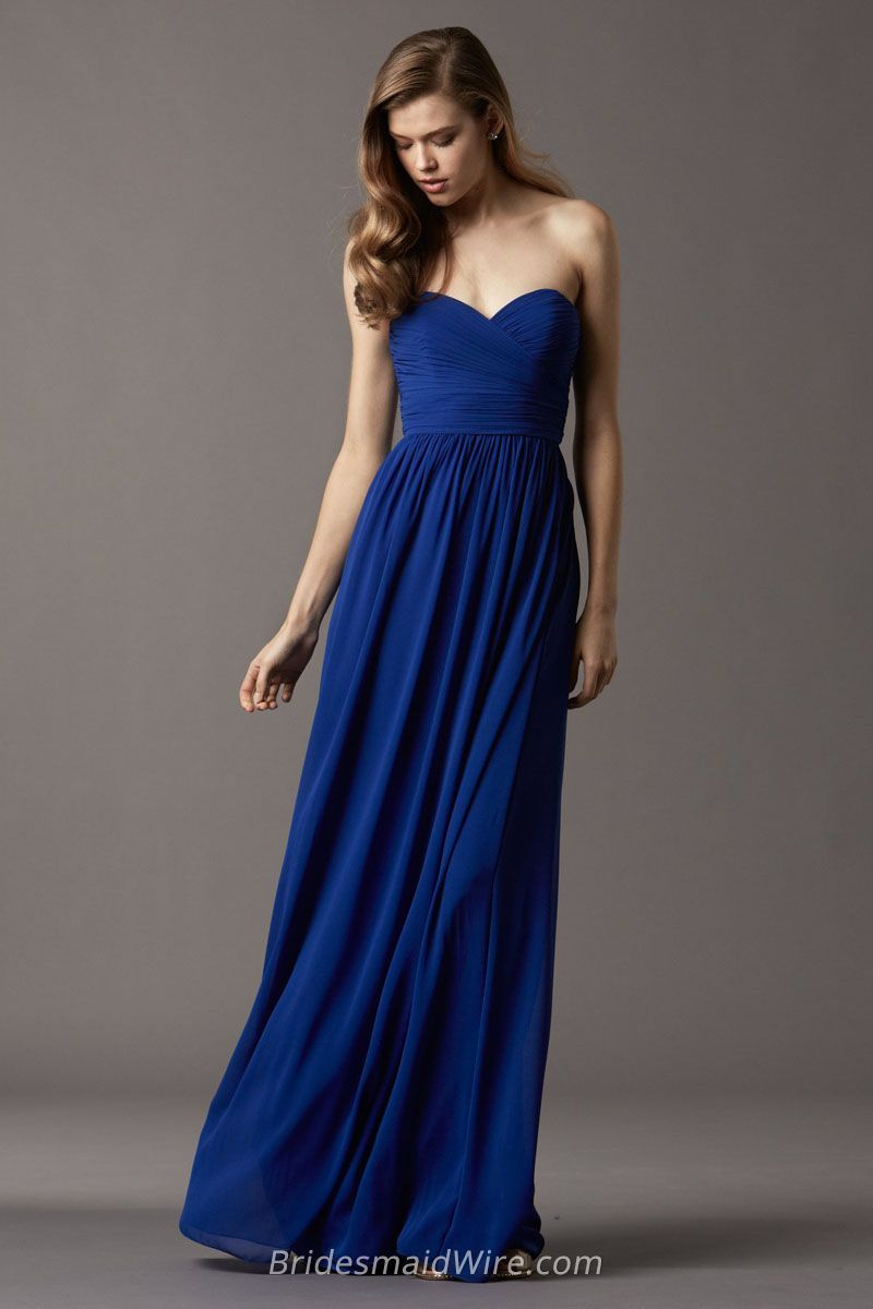 Royal Blue Chiffon Sweetheart Strapless Floor Length Long ...