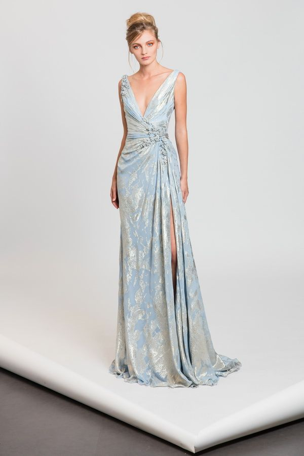 Tony Ward RTW SS17 I Style 46 I Blue and silver draped evening dress in fil coupé embellished with touches of embroideries and a side slit