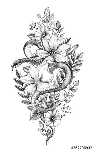 Hand Drawn Serpent monochrome parmi les fleurs - acheter cette illustration Vous pouvez trouver des