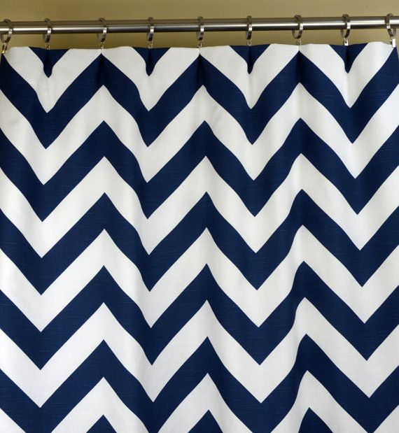 Pair Of Rod Pocket Curtains In Navy Blue And White Slub