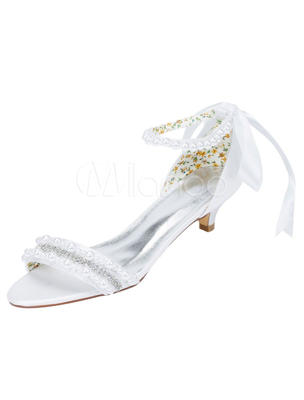 White Wedding Shoes Kitten Heel Sandals Pearl Rhinestone Ankle Strap Bridal Shoes With Ribbon Bow Kitten Heel Wedding Shoes Bridal Shoes White Wedding Shoes