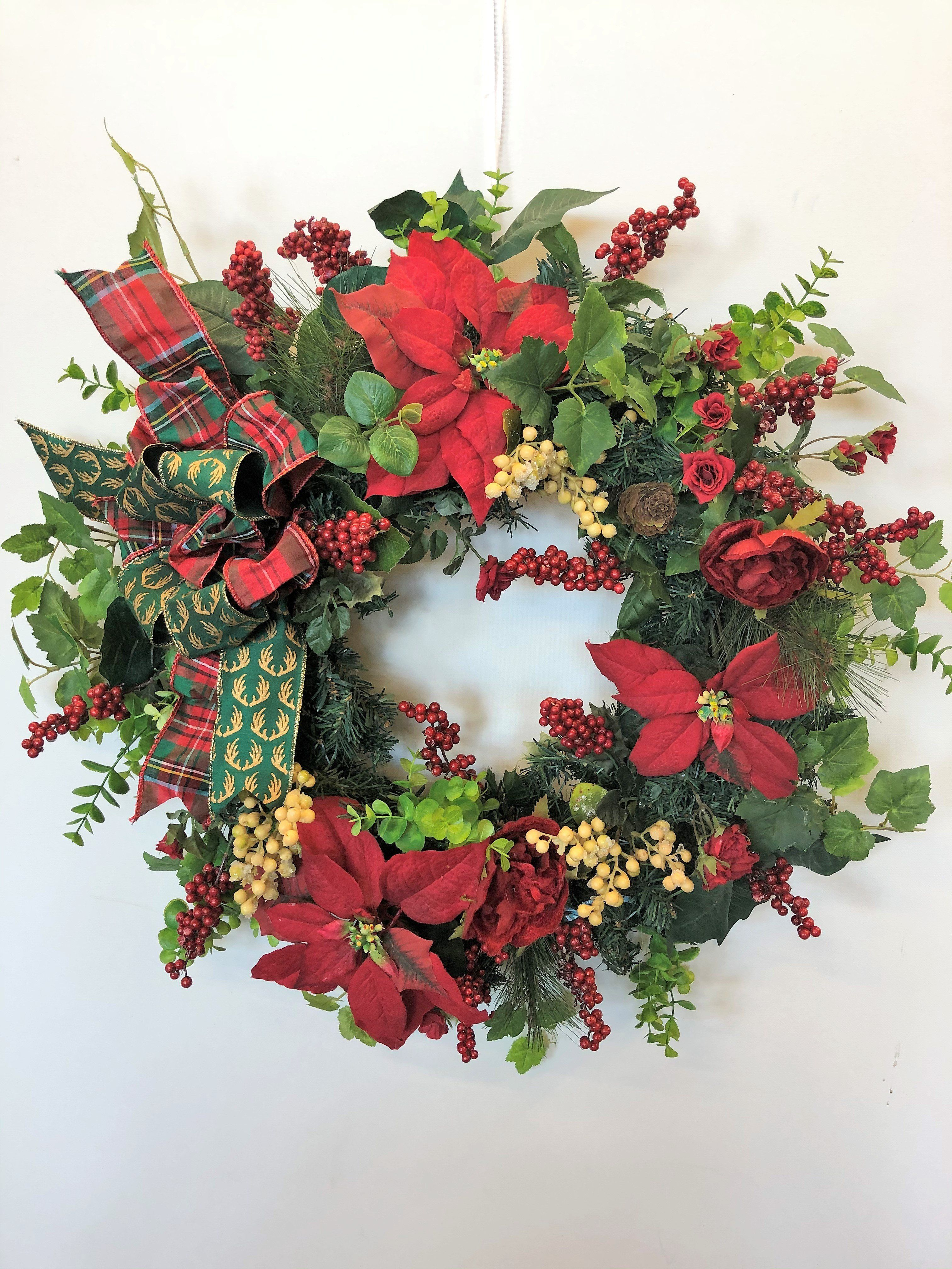 Red Rose And Poinsettia Silk Floral Holiday Christmas Wreath Hol112 In 2020 Christmas Wreaths Silk Floral Decor Wreath Store