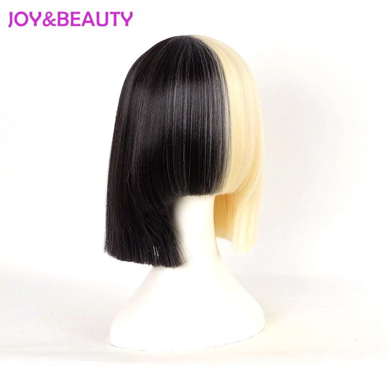 JOY BEAUTY Hair Long bang Sia wig Short Bob Wig Women s Half Blonde and  Black Mix Hair 7bb518bf6